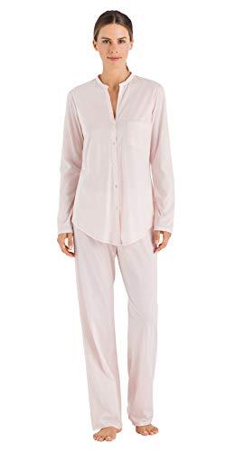 Hanro Damen Cotton Deluxe Pyjama 1/1 Arm Zweiteiliger Schlafanzug, Rosa (Crystal Pink 071334), 50 (Herstellergröße: XL)