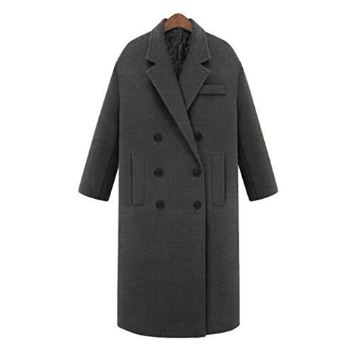 Finerun Damen Wolle Windjacke Zweireiher Mantel Langarm Trenchcoat Elegantes Warme Oberteile