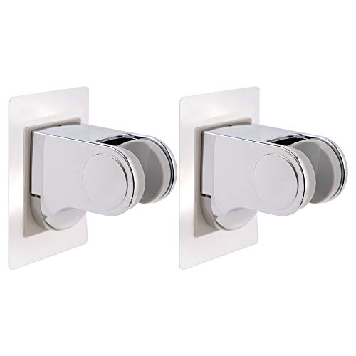iFearClear 2PCS Shower Head Holder-Adjustable & Stick Shower Head Wall Mount Bracket with 2 Holes, Handheld Showerhead Holder for Bathroom Showerhead &Bidet Sprayer Self Adhesive Bracket- Chrome