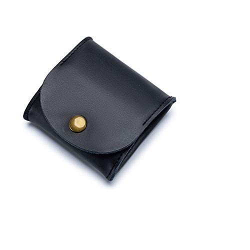 Leather Squeeze Coin Purse Pouch Rustic Leather Moon Pocket Coin Case Change Holder Tray Purse Wallet for Men Women - black - One Size