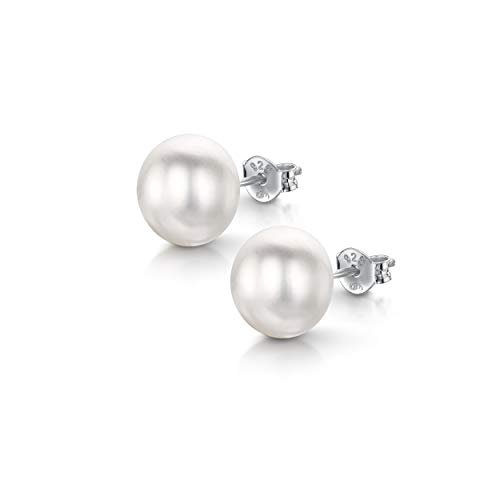 Amberta Pendientes de Botón para Mujer en Plata de Ley 925 con Perlas de Agua Dulce: Perla Blanca 9-10 mm