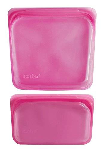 Stasher Sac réutilisable en silicone pour la cuisson Transparent 19.05 cm x 19.05 cm and 11.45 cm x 19.05 cm framboise