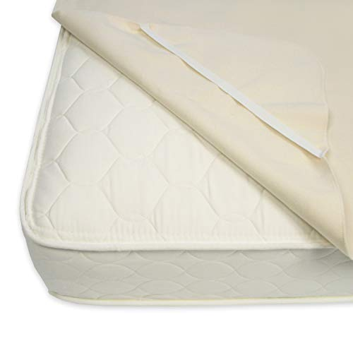"Naturepedic Organic Waterproof Protector Pad with Straps - Twin -Beige  38""x 75"""