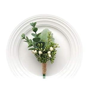 Yokoke Handmade Artificial Succulent Corsage Wristlet Realistic Berry Green Plants Boutonniere for Wedding Decor 2 Pcs