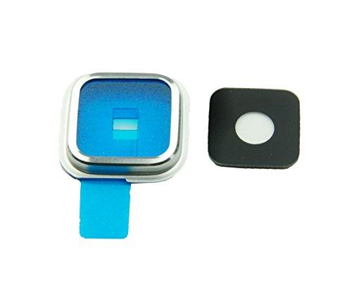 Samsung Galaxy S5 SM-G900F Kamera Glas Abdeckung Linse mit Rahmen + Abdeckung + Klebepad Komplett Silber Chrome - ToKa-Versand®