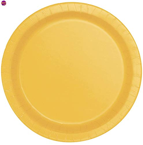 Ayush party Supplies Party Tableware Paper Plates for Weddings, Anniversary, Birthday , Multipurpose Occasions is Party Disposable plates,Pack of 16(9inch/22cm) (Sunflower Yellow)