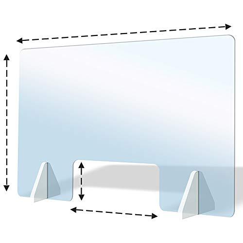Care4U Spuckschutz Acrylglas (60x60 (BxH) cm) mit Durchreiche (30x20 (BxH) cm) Plexiglas Virenschutz Schutzscheibe Thekenaufsatz Trennwand