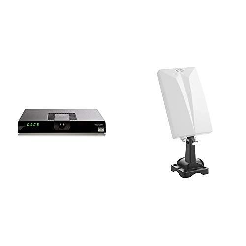 Xoro HRT 8719 Full HDHEVC DVB-T/T2Receiver(H.265, HDTV, HDMI, USB 2.0, 12V) schwarz & HAN 600 DVB-T2 aktive Kombo Antenne mit eingebautem Verstärker (LTE Rauschfilter, 3,5m Anschlusskabel) weiß