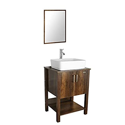 """eclife 24"""" Bathroom Vanity Sink Combo Brown Cabinet Vanity White Ceramic Vessel Sink & 1.5 GPM Water Save Faucet & Solid Brass Pop Up Drain,W/Mirror (T03 B12C)"""