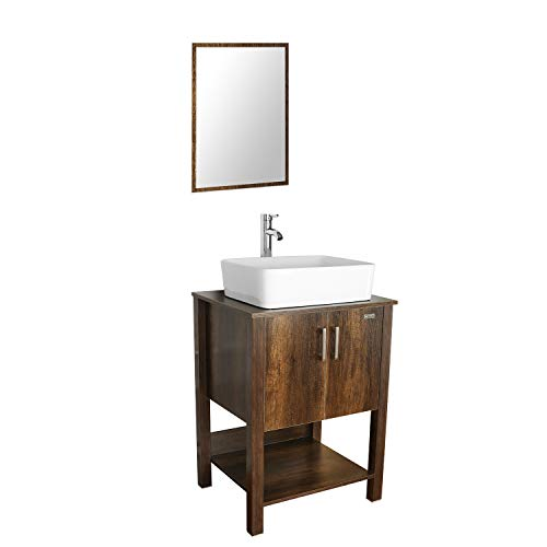 "eclife 24"" Bathroom Vanity Sink Combo Brown Cabinet Vanity White Ceramic Vessel -"