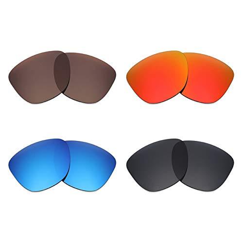 Mryok Lot de 4 paires de lentilles polarisées de rechange pour lunettes de soleil Oakley Frogskins Noir furtif Rouge feu Bleu glacier/Bronze