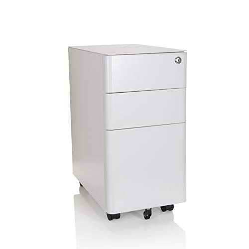 hjh OFFICE 743018 Rollcontainer schmal Color I Stahl Weiß Schubladenschrank mit Rollen, A4 Hängeregister, abschließbar