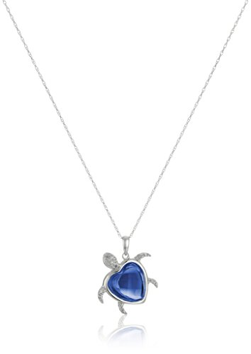 10k White Gold Turtle Created Blue Sapphire Diamond-Accent Pendant Necklace (0.03 cttw, I-J Color, I2-I3 Clarity), 18