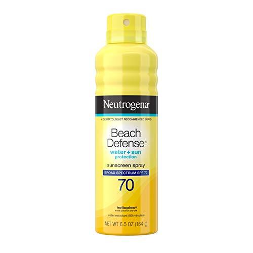 Neutrogena Beach Defense Spray Sunscreen with Broad Spectrum SPF 70, Fast Absorbing Sunscreen Body Spray Mist, Water-Resistant & Oil-Free UVA/UVB Sun Protection, 6.5 oz