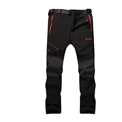 JIANYE Pantalon Softshell Hombre Pantalones de Montaña Impermeable Pantalon Trekking Caliente Pantalones Invierno Negro L