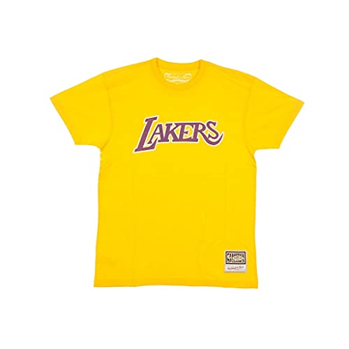 Mitchell & Ness Camiseta de Los Angeles Lakers Worn Logo NBA amarillo, S