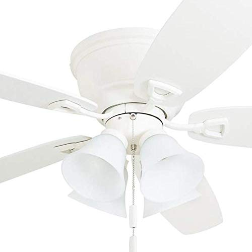 """Honeywell 50520 Quick-2-Hang Hugger Ceiling Fan, 52"""" Dimmable LED Light Frosted Fixtures, Easy Installation White/Maple Blades, White"""