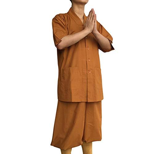 G-like Buddisten Mönche Laien Kostüm - Chinesische Traditionelle Buddhistische Taoistische Kleidung Kampfkunst Shaolin Kung Fu Wushu Kurzärmelige Robe Stehkragen Uniform Sommer Anzug (Gelb, M)