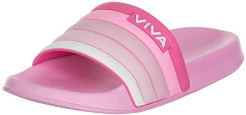 Brandsseller Damen Pantolette Badelatschen Hausschuhe mit gestreiften Riemen - Pink 37