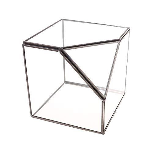 SKYVII Caja de almacenamiento moderna para terrario de cristal transparente con diseño geométrico para plantas suculentas, portavelas votivo decorativo (negro)