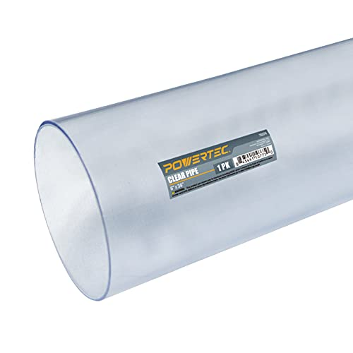 POWERTEC 70274 Clear Pipe, 6-Inch x 36-Inch Long, Rigid Plastic Tubing