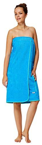Sowel Toalla de sauna para mujer, cierre de velcro y goma, 100% algodón, longitud hasta la rodilla, 80 x 130 cm, color azul y turquesa