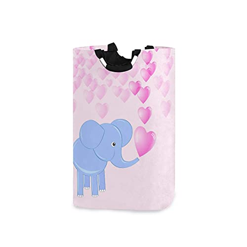 Spetlye Cute Baby Elephant Hearts Cesto de la Ropa Hamper Large Toy Storage Bin with Handles for Kids Gift Basket Waterproof Fabric Dirty Clothes Bag Nursery Bedroom Dorm, Collapsible Home Organizer