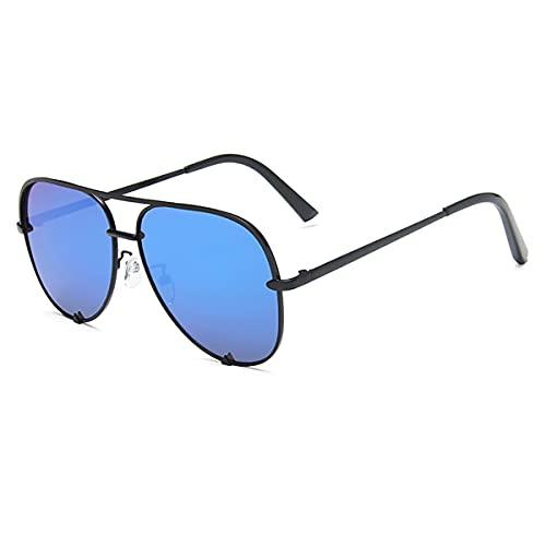ZHD&CC Gafas De Sol Gafas Metal Aviación Gafas De Sol Hombres Uv400 Gafas De Conductor Polarizadas Gafas De Sol,Black Blue
