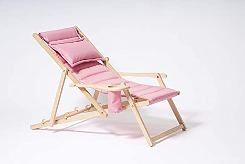 MyDeer - Tumbona plegable de madera   Sillón lounge con cojín   Tumbona para jardín, balcón, camping   Silla plegable con reposabrazos y soporte para bebidas   color rosa pastel