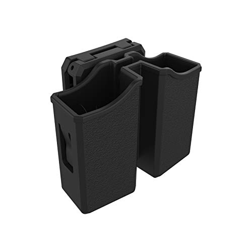 Universal Double Magazine Pouch, 9mm .40 .45 .357 OWB Double Stack Mag Holder Dual Magazine Holster with Molle Design, Adjustable Belt Clip Fit Glock Sig sauer S&W Beretta Taurus 1911 Pistol Mags