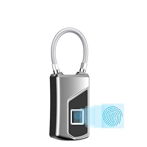 Shengy vingerafdruk-intellig metalen hangslot (USB, oplaadbaar), waterdicht, diefstalbestendig, kan 10 sets vingerafdrukken opslaan, veilig draagbaar kofferslot