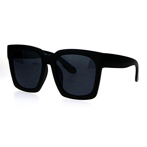 Womens Boyfriend Style Oversize Horned Rim Thick Plastic Sunglasses Matte Solid Black