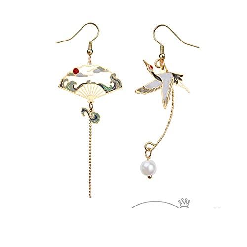 ピアス レディース 人気 着物 和装 超繊細 和 鶴と扇子のピアス