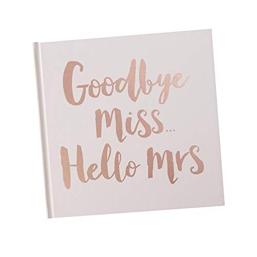 Gäste-Buch 'Goodbye Miss Hello Mrs' in rosa mit Aufschrift in Rosé-Gold Kupfer - Gäste-Buch...