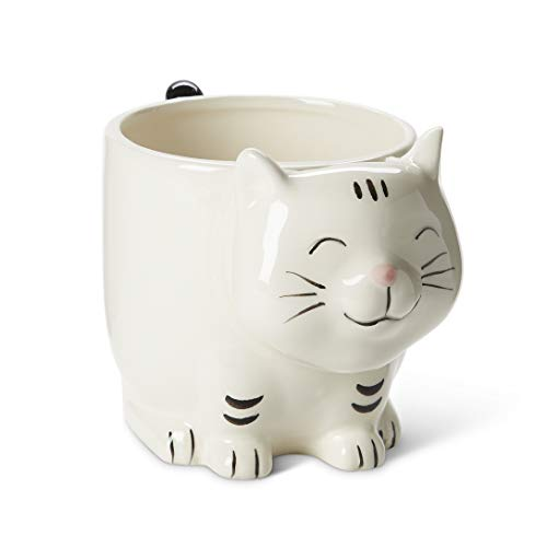 White Ceramic Coffee or Tea Mugs: Animal Shaped Coffee Mugs with Hand Printed Designs and Printed Saying - 11 - 18.6 Fluid Ounce Large, Cute Handmade Cup (Cat 1)