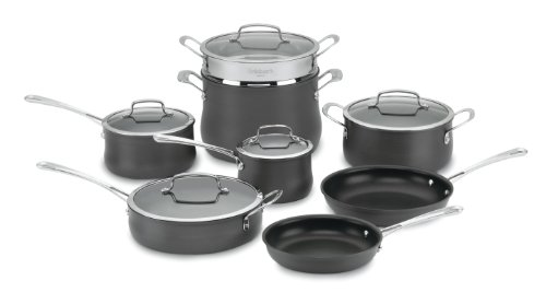 Cuisinart Contour Hard Anodized 13-Piece Cookware Set,Black