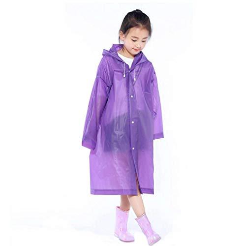 lamta1k Kinder Regenmantel,Kinder Regenmantel Kinder undurchl?ssige Abdeckung Poncho Regenwasserdicht mit Kapuze Capa - Purple