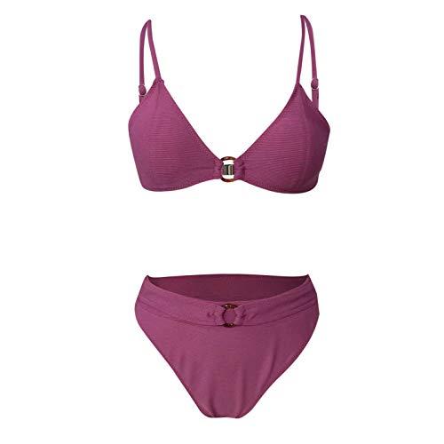 YANFANG Bikini de Mujer Color sólido Sexy Cuello Cuadrado Traje de baño de Bikini Dividido de Color Rosa Sexy Atractiva Ropa de Playa