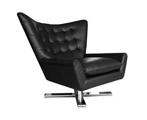 NEUERRAUM Drehbarer V-förmiger Echtleder Ohrensessel Fernsehsessel Armlehnsessel Lounge Sessel. Abbildung in Leder Schwarz