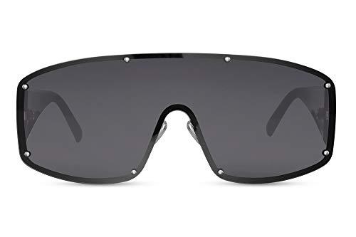 Cheapass Gafas de sol Alta Protección Negras Lentes de una Pieza con protección UV400 Mujeres Alta Costura