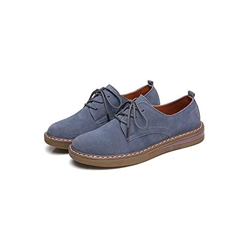 Buty damskie damskie Hushueeewnj, Suede Leather Women Flats Oxford Buty Wiosenne Damskie Sneakers Casual Shoe Plus SizeaUtums Buty (Color : Blue, Size : 39)