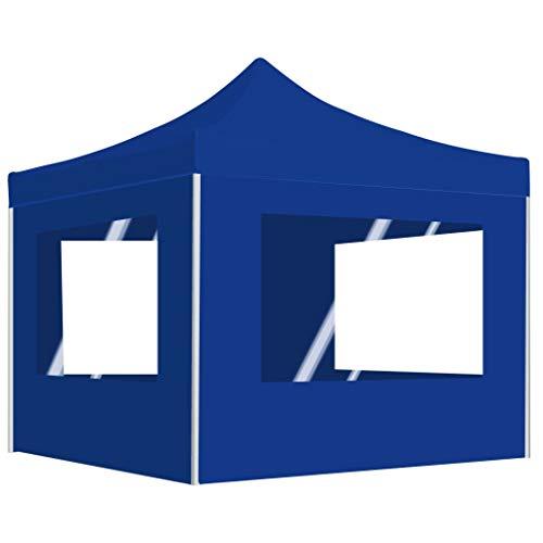 UnfadeMemory Profi-Partyzelt Faltbar Zelt Aluminiumlegierung-Rahmen 2 x 2 m Faltpavillon Gartenzelt Eventpavillon Sonnenschutz 200x200cm Weiß (Blau, mit Seitenwand)