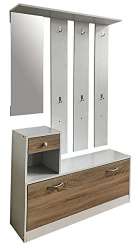 Set mobili in PB composto da una scarpiera e un appendiabiti con specchio - struttura bianca/cassetto e scarpiera 3D sonoma