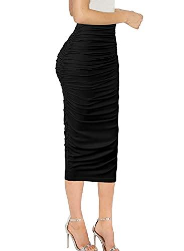 Vfshow Womens Elegant Black Ruched Ruffle High Waist Pencil Midi Mid-Calf Skirt 2277 BLK L