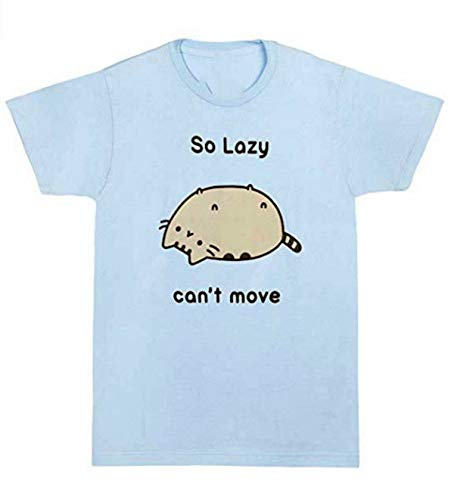 Pusheen The Cat So Lazy Can't Move T-Shirt Blue Men's Fashion Crew Neck Short Sleeves Cotton Tops Clothing