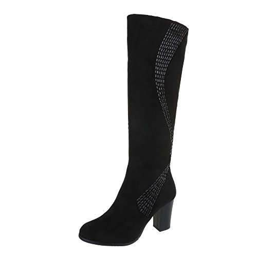 Ital-Design High Heel Stiefel Damen-Schuhe High Heel Stiefel Pump High Heels Reißverschluss Stiefel Schwarz, Gr 37, Ksl009-
