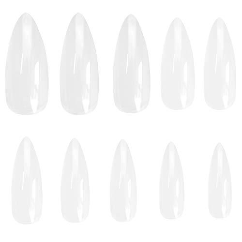 Ebanku 600 Stück Stiletto Durchsichtig Künstliche Fingernägel Ballerina Falsche Nägel in 10 Größen, Nagelspitzen Spitz False Nail Tips für DIY-Nagelkunst und Nagelstudios