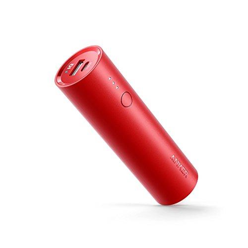 Anker PowerCore 5000 (5000mAh 最小最軽量 スティック型 モバイルバッテリー) 【PSE認証済/PowerIQ & VoltageBoost搭載】iPhone/iPad/Xperia/Android各種他対応 トラベルポーチ付属 (レッド)