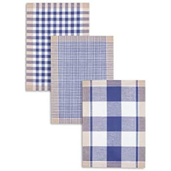 Kracht 3-er Pack Jacquard Geschirrtuch, Halbleinen, Karo sortiert, blau, 50x70cm