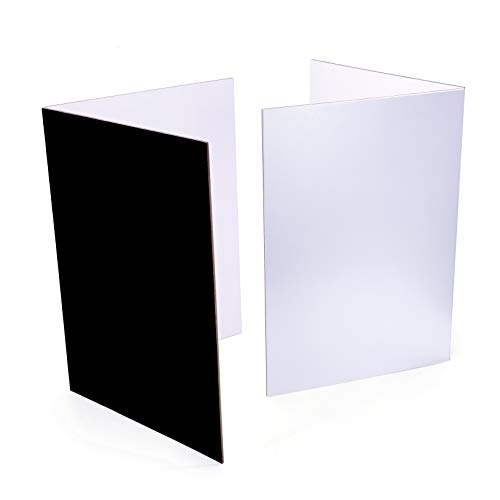 (2 PCS) Light Reflector 3 in 1 Photography Reflector Cardboard, A4 (12x8 Inch) Size Folding Light Diffuser Board for Still Life, Product and Food Photo Shooting - Black, Silver and White, 2 Pack